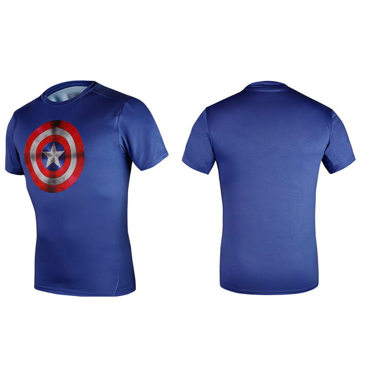 Captain America Sublimation printing quick dry  sports T-shirt