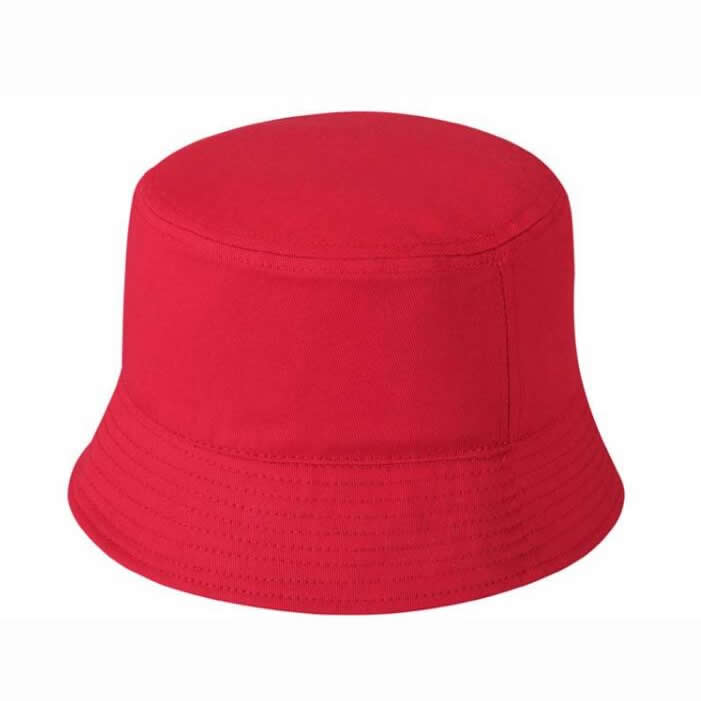 Heavy brushed cotton bucket hat-Red